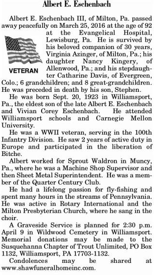2016-03-31 Albert Eschenbach Obituary